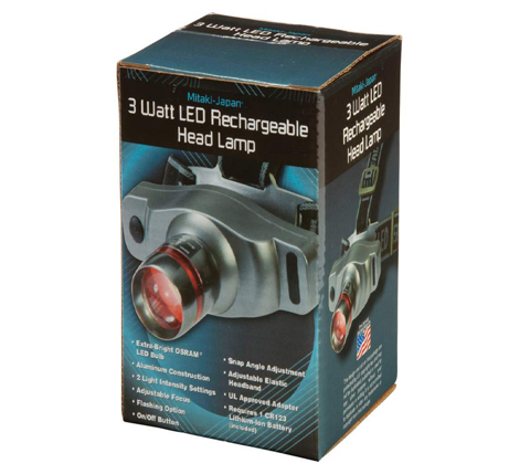 3-Watt LED Head Lamp (Rechargeable Lithium Ion)
