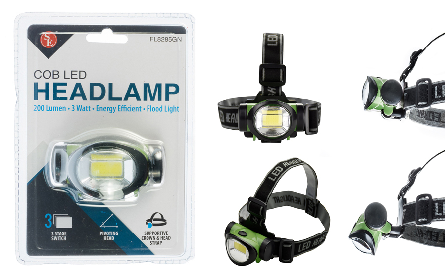 200 Lumen/ 3 Watt Energy Efficient COB LED Headlamp (Green)