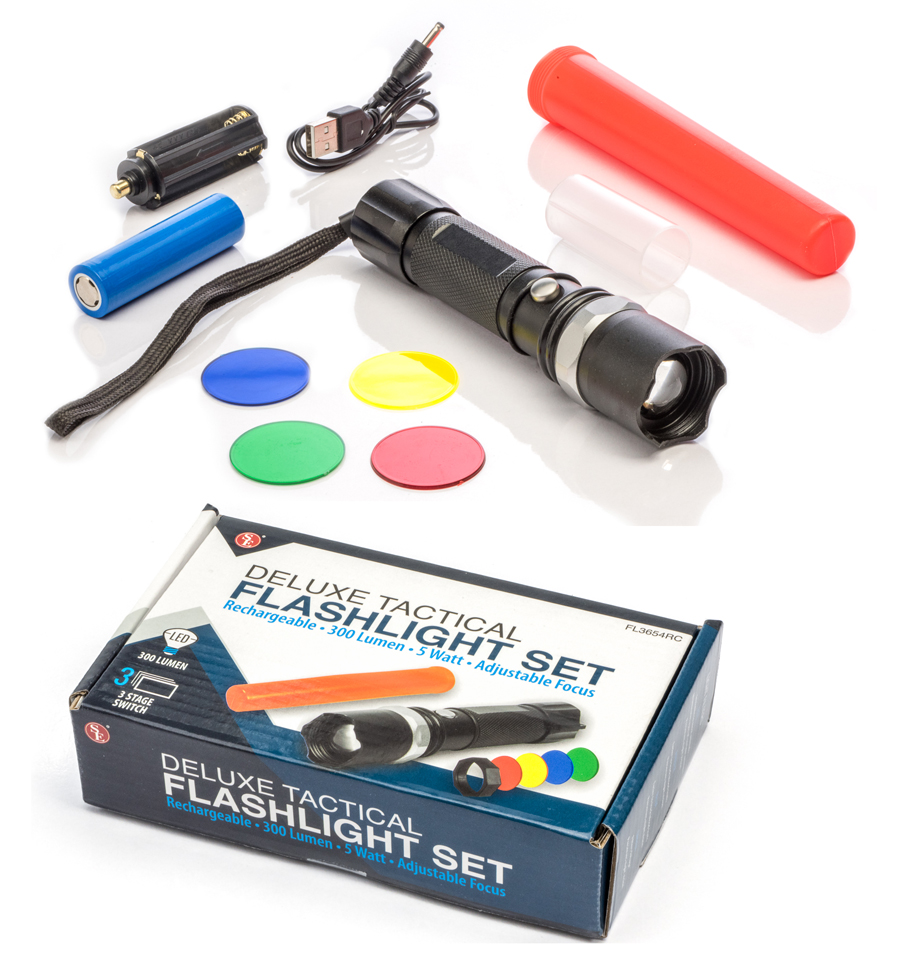Rechargeable 5 Watt Flashlight Kit